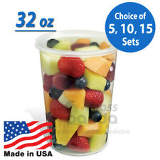 32oz Round Clear Plastic Deli Food/Soup Restaurant Storage Container Cup w/ Lids