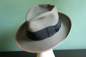 BEAUTIFUL Vintage 50s STETSON FEDORA, Gray, 7 Long Oval fits to 7 1/8th
