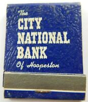 The City National Bank Of Hoopeston Full Unstruck Vintage Matchbook Ad