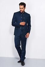 New Men Wedding Bespoke Blue Jodhpuri 3Pc Suit Mandarin Coat Pant Shirt FL104 $