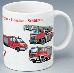 Feuerwehrtasse Feuerwehr Kaffeebecher Schriftzug Retten Bergen Löschen Schützen