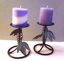 Set of 2 Decorative Leafy Metal Candle Holders with 2 Candles