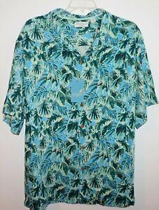 Roundtree Yorke Hawaiian Shirt Big 2X Turquoise Floral Silk Blend NWT (HAW144)
