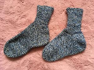 Boy's Hand Made Wool Socks Size UK 2-3 Blue