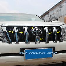 6pcs Chrome Front Grille Trim For Toyota Land Cruiser Prado FJ150 2014 15 16 17