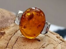 QUALITY Chunky Gent's Sterling Silver Real Amber Signet Ring 925 Q