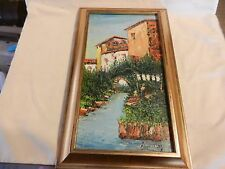 Vintage Oil Painting European Town with River Framed, signed Impasto Style