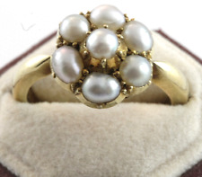 Victorian 18k Yellow Gold Seed Pearl Ring Size 5.5