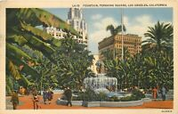 Linen Postcard CA G491 1937 Cancel Fountain Pershing Square Los Angeles Palms