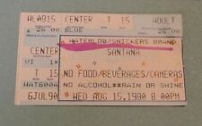 1990 Santana Rock Concert Ticket Stub Waterloo Village Stanhope New Jersey Music