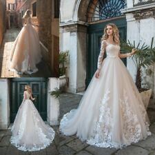 Mermaid Champagne Wedding Dresses Bridal Gowns Long Sleeves Appliques Lace 2019