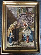 Gobelin Bild schöner Rahmen Rosenkavalier z.T. Petit Point Handarbeit