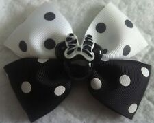 "Girls Hair Bow 4"" Wide Black & White Polka Dot Zebra Minnie French Barrette"