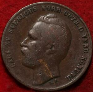 1871 Sweden 2 Ore Foreign Coin