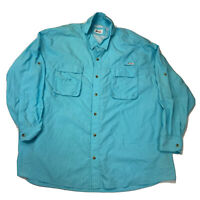Mens Size 4XL World Wide Sportsman Blue Long Sleeve Button Down Shirt SHIPS FAST