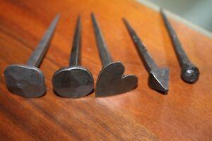Handgeschmiedete Nägel, 5 Sorten♥Rund-,Pyramiden-,Herz-,Quadrat-,Kugelkopf