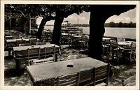 Eltville am Rhein Hessen alte Postkarte ~1930/40 Terrasse des Hotel Burg Crass