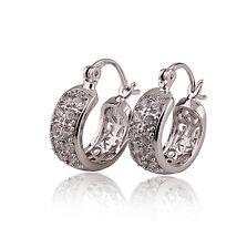 Elegant Platinum Plated White Zircons Gemstone Earrings Hoop E516
