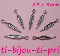 LOT de 20 PENDENTIFS ARGENTES perles breloques PLUMES FEATHER 29x5mm FIMO bijoux