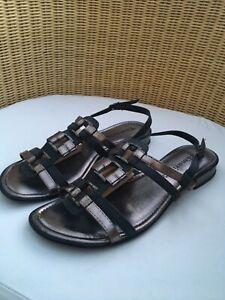 TAMARIS Fabulous Black + bronze leather strappy flat sandals UK 7 Eur 40