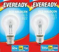 10x Halogen Clear GLS Light Bulb B22 E27 Energy Saver Lamp Warm White
