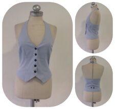 H&M Weste Klassisch Chic Blau Weiß Gestreift Taschen Knopfleiste Gr 36 1A