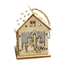 Christmas Hanging Ornament LED Lights Wood HOUSE Xmas Tree Decorations Snowman