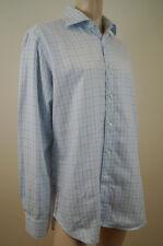 ETRO MILANO Menswear Blue 100% Cotton Checked Long Sleeve Shirt Top Sz:42