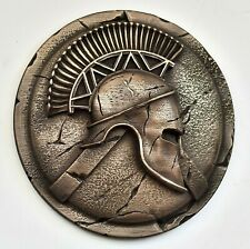 Spartan greek helmet and hoplite shield bronze sculpture wall art home decor
