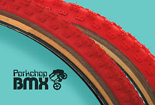"Kenda Comp 3 old school BMX skinwall gumwall tires 24"" STAGGERED - RED (PAIR)"