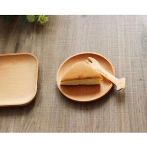 Wood Serving Tray Tea Fruit Food Server Dish Platter Wooden Dessert Plate