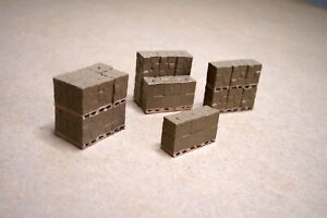 N scale Stacked boxes on pallets interior detail item n gauge ready to install