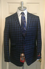 L&S Hollywood Celebrity Blue Plaid Blazer, Elbow Patches Modern Style Size 40 R