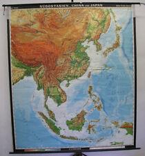 Schulwandkarte Landkarte Südostasien China Japan Vietnam 196x227cm 1972 vintage