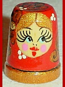 """THIMBLE RUSSIAN HAND PAINTED WOODE RED BLONDE LADY 1"""""""
