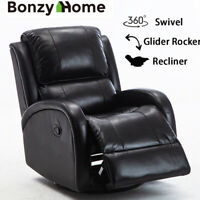 Leather Swivel Rocker Glider Recliner Chair Padded Overstuffed Living Room Sofa