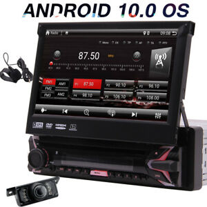"""Single 1 Din Android 10 Car DVD GPS 7"""" HD Flip Up Stereo Radio Player BT+Camera"""