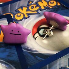 ** Ditto stud earrings - Pokémon handmade fun quirky fimo  **