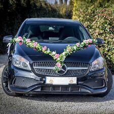 Brautauto Autoschmuck Hochzeitsauto Autodeko Autogirlande Türschleifen weiß/rosa
