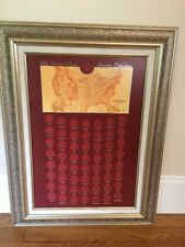 "NEW 28.5"" x 22"" Framed US State Quarter Collection Holds 57 coins Matted Frame"