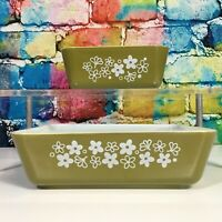Vintage Green PYREX OVENWARE Spring Blossom Crazy Daisy Dish # 0502 & # 0503 USA