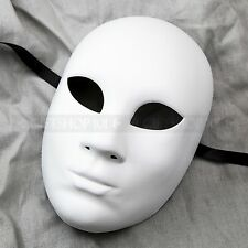 Plain White Craft Unpainted Venetian Masquerade Mardi Gras Party Full Face Mask