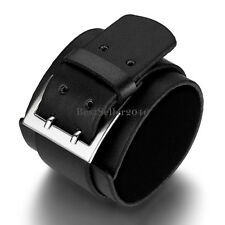 Black Wide Leather Wrist Belt Cuff Bracelet for Men Boys Unique Birthday Gifts