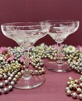 "Antique Vintage Tiffin Glass ""Aster"" Line #13628 Champagne/Tall Sherbet Set of 2"
