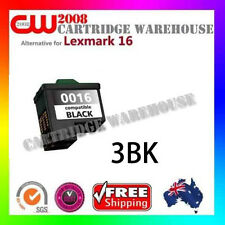 3 x Lexmark 16 Ink Cartridge BK for Lexmark X1170 X1175 X1185 X1195 X2200 X2250