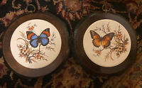 Vintage Jerry Schultz Co Octagonal Wood & Ceramic Butterfly Pair Of Wall Plaques
