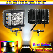 """4"""" LED Work Light Amber White Combo Beam Cube Pod Multifunction Driving Lamp"""