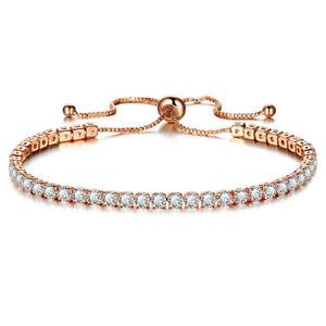 Genuine 925 Sterling Rose Gold Adjustable Ball Bead Slider Bracelet on Box Chain