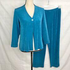 Laura Ashley SZ Small Petite Travelers Slinky Knit Cardigan Jacket & Pants