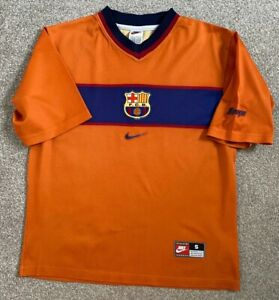 RARE VINTAGE FC BARCELONA FOOTBALL CLUB FCB NIKE AWAY SHIRT 98-99 S SMALL